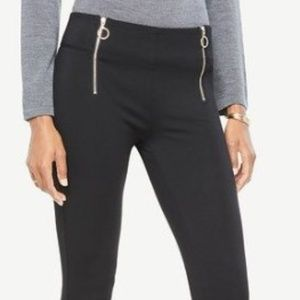 NWT Ann Taylor GOLD front zip leggings